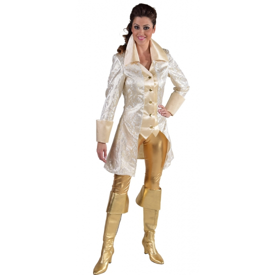 Wit met gouden piraten jas dames M Wit