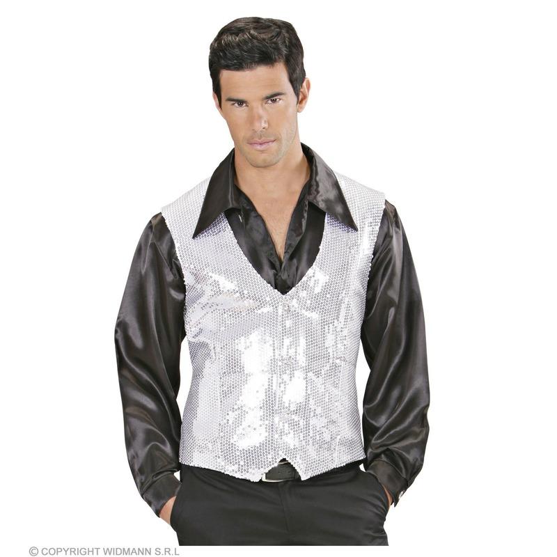 Wit met zilver pailletten vestje voor heren L Zilver