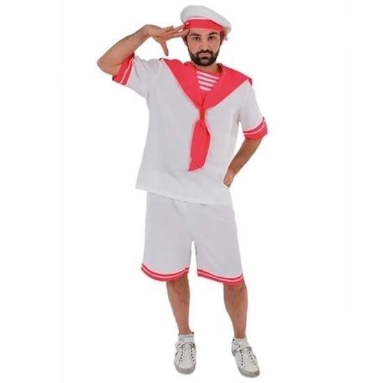 Wit/roze gay sailor kostuum voor heren XL Multi