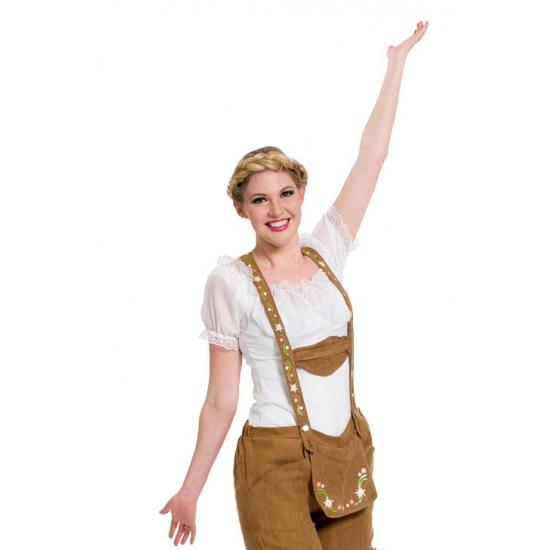 Witte bierfeest/oktoberfest shirt/blouse verkleedkleding voor dames L/XL Wit