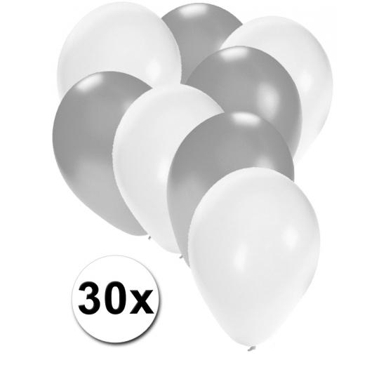30 stuks ballonnen in de kleuren wit en zilver. van elke kleur 15 ballonnen, leuk voor verjaardagen en ...
