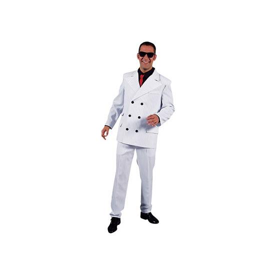 Witte gangsterpak voor heren 64-66 (2XL) Wit