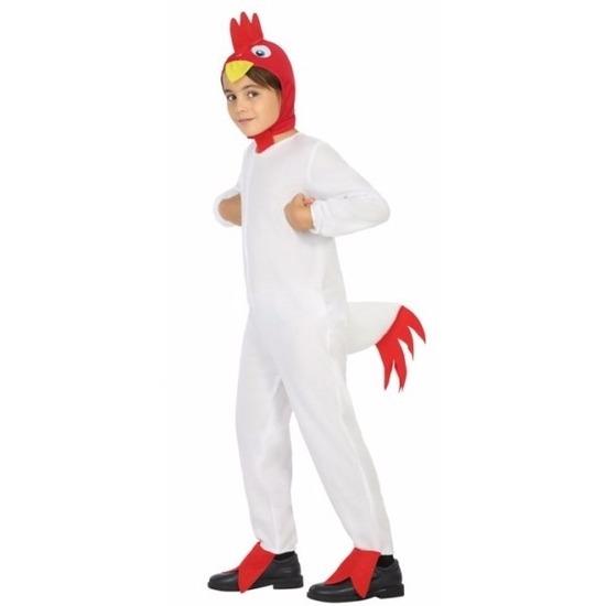 Witte haan/kip Doodle verkleedkleding voor jongens 128 (7-9 jaar) Multi