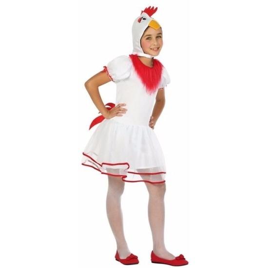 Witte hen/kip Pok verkleedkleding voor meisjes 128 (7-9 jaar) Multi