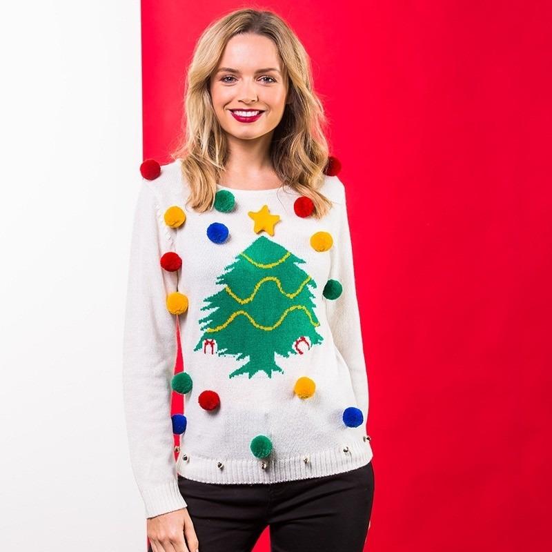 Witte kerst sweater 3D kerstboom voor dames XL (42) Wit