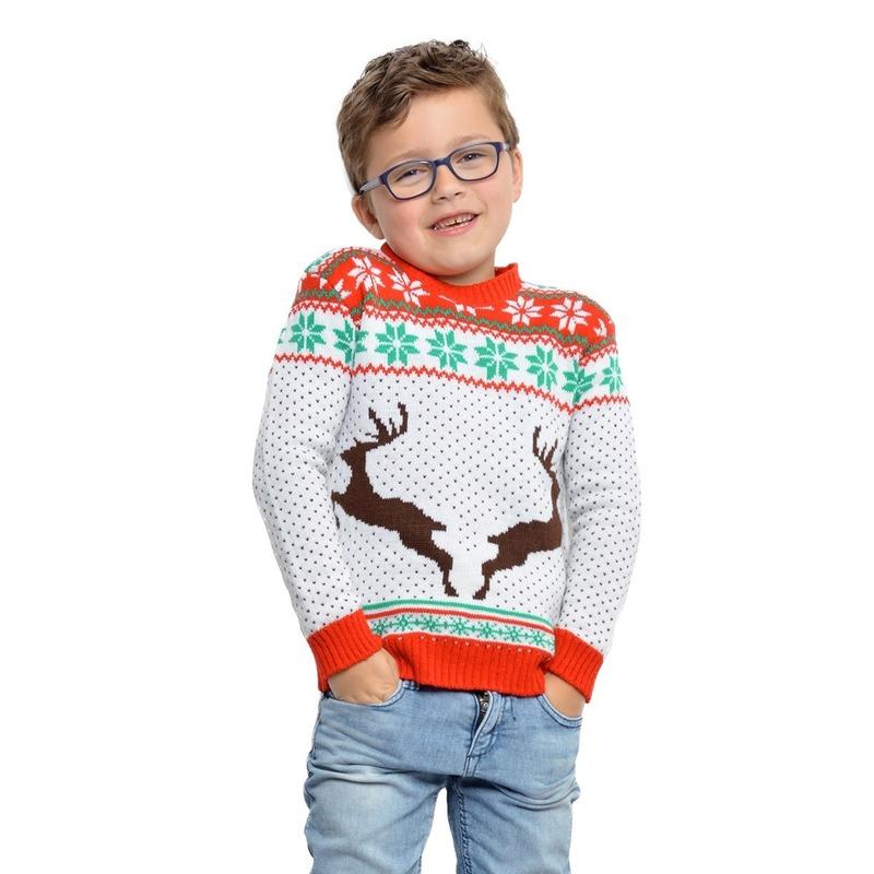Witte kerst sweater met rendieren voor kinderen 9/10 jaar (140/146) -