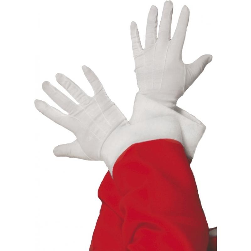 Witte kerstman handschoenen kort Wit