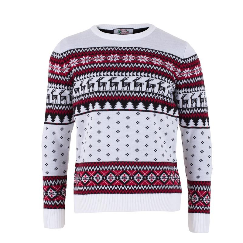 Witte kersttrui voor volwassenen nordic print L (52) Multi