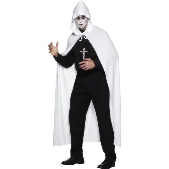 Witte lange cape met capuchon One size Wit