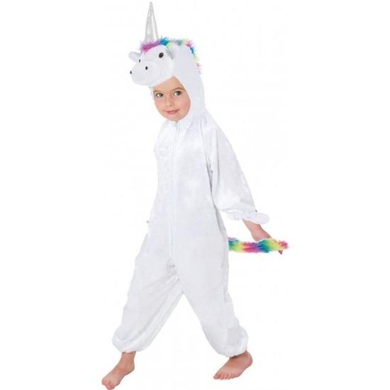 Witte/regenboog eenhoorn Rainy onesie/pak voor kinderen 164 Multi