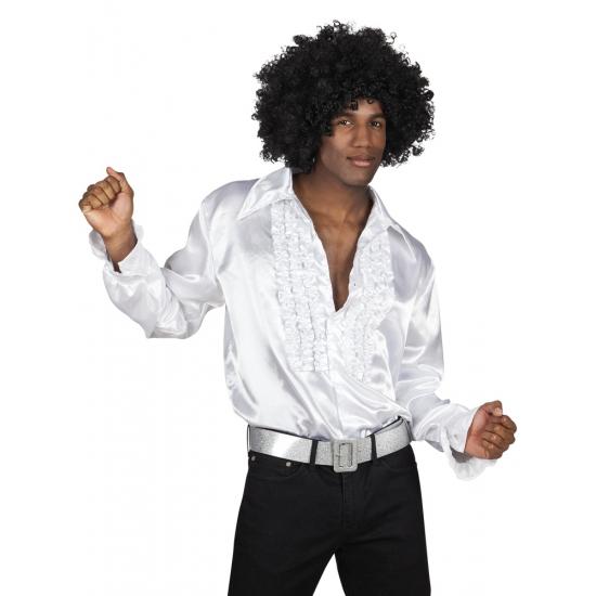 Witte rouche overhemd voor heren M Wit