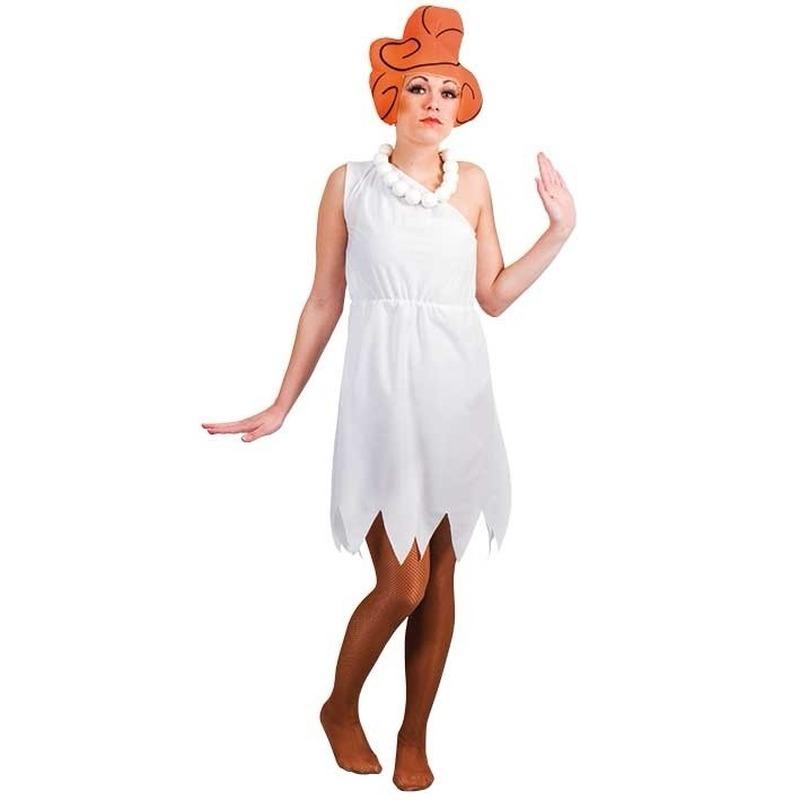 Witte Wilma jurk met pruik voor dames L/XL (T-XL) Multi