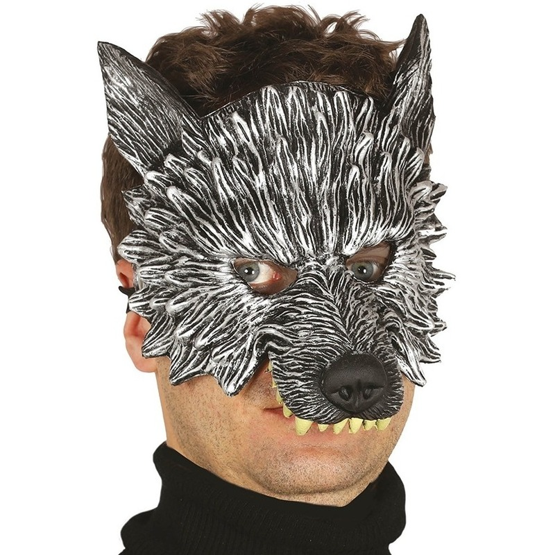 Wolf/wolven horror/halloween masker van foam Grijs