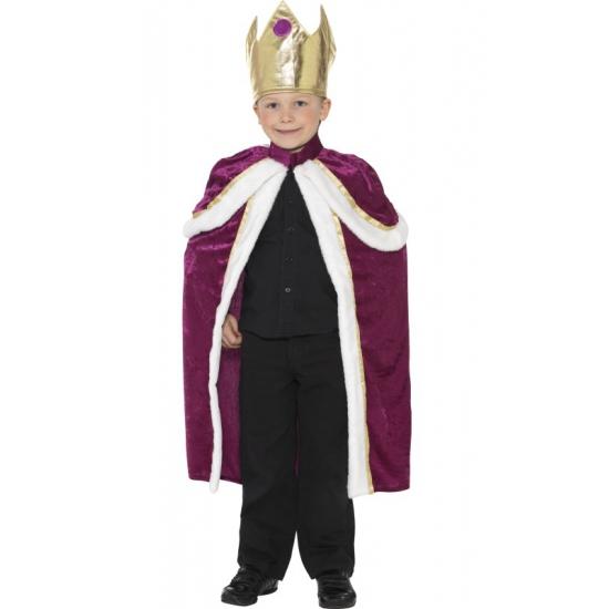Zachte koningscape voor kinderen 115-128 (4-6 jaar) Paars