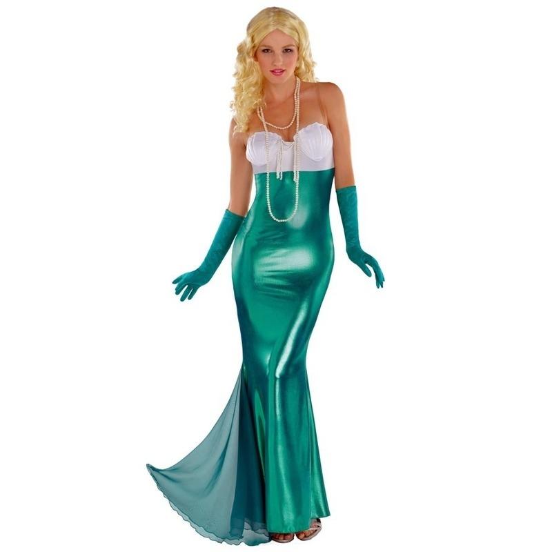Zeemeerminnen jurk thema feest kleding carnaval voor dames 40 (L) Groen