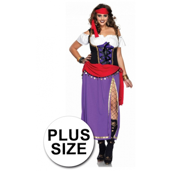 Zigeunerin kostuum dames grote maten 3XL/4XL Multi
