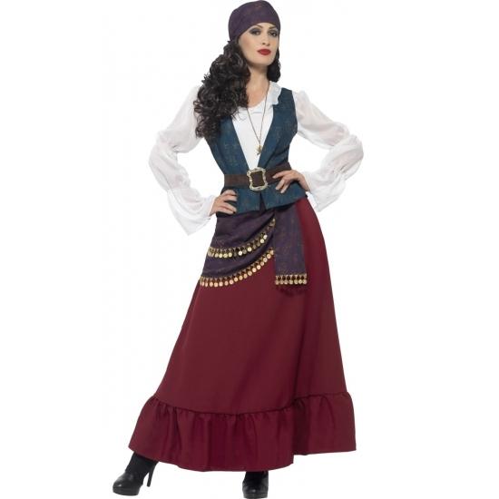 Zigeunerinnen/piraten kostuum Esmeralda voor dames 40-42 (M) Multi