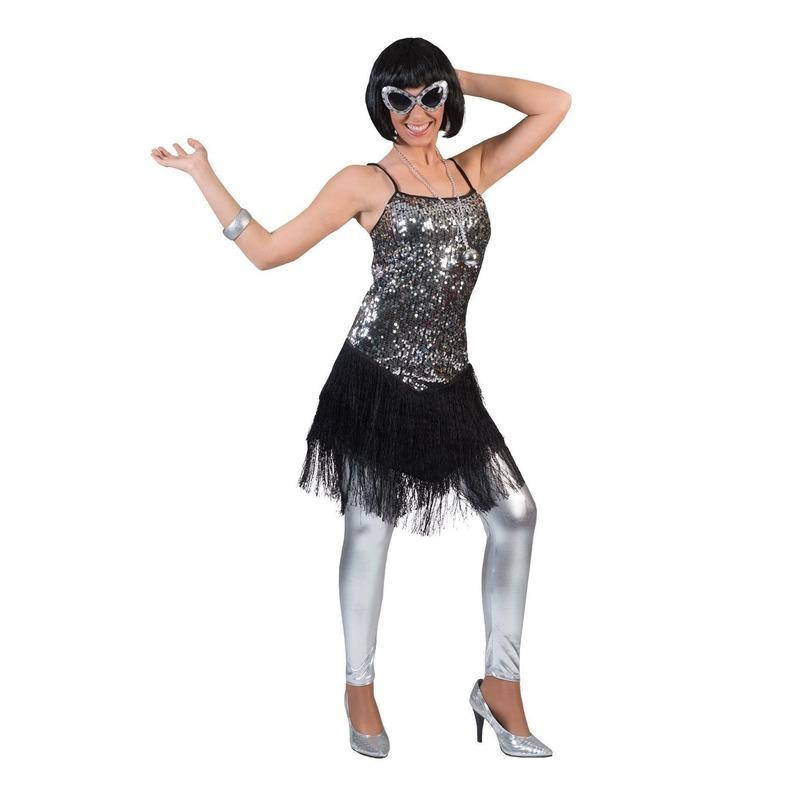 Zilver met zwart charleston verkleed jurkje voor dames 32-34 (XXS/XS) Multi