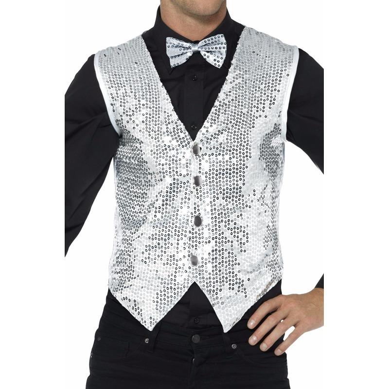 Zilver pailletten vestje voor heren 52-54 (L) Zilver