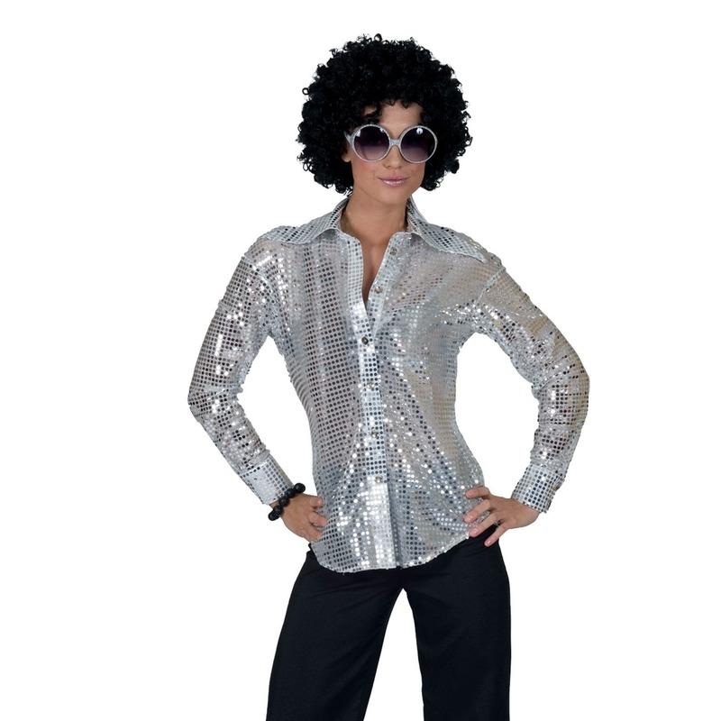 Zilveren disco jaren 70 overhemd voor dames 40-42 (L/XL) Zilver