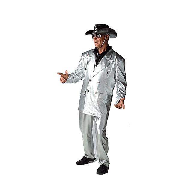 Zilveren disco kostuum voor heren 56 (2XL)