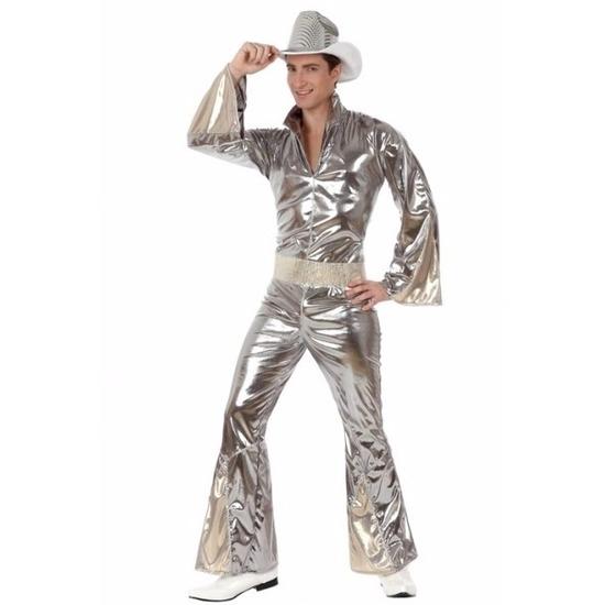 Zilveren disco verkleedkleding heren XL Zilver