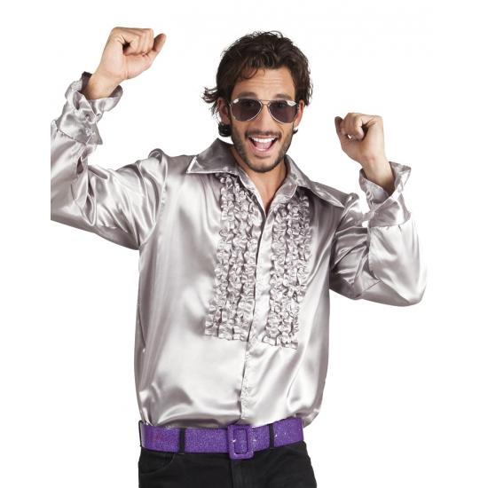 Zilveren rouche overhemd voor heren M Zilver