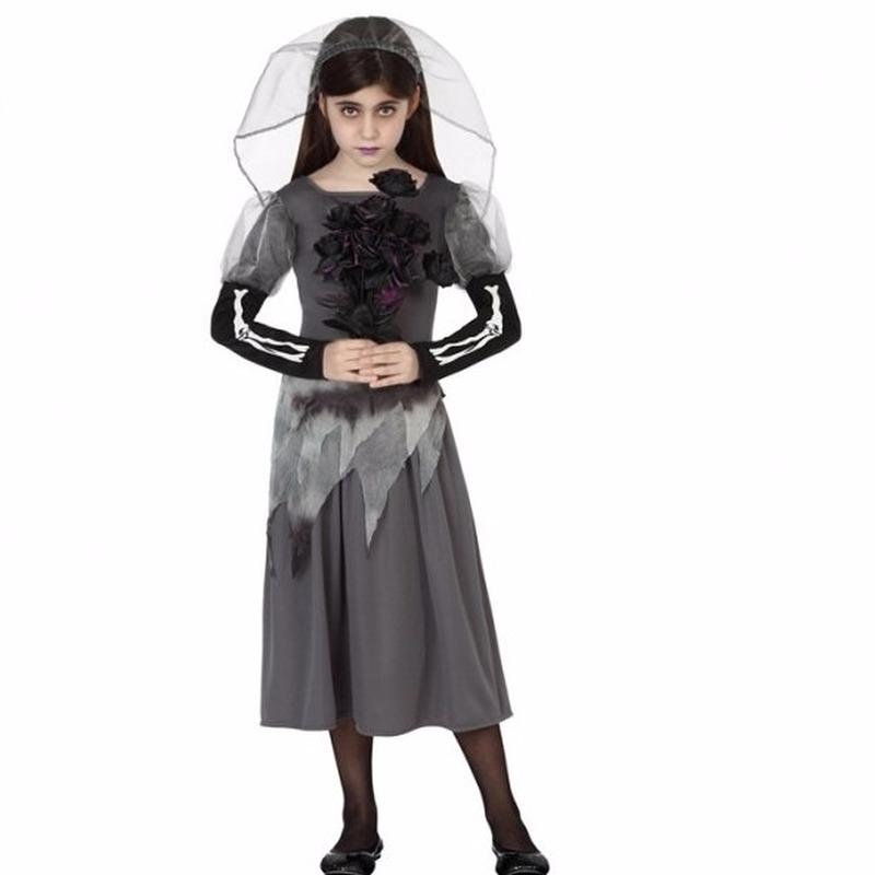 Zombie bruid meisjes jurk grijs 140 (10-12 jaar) Grijs