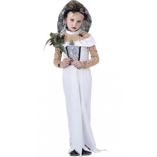 Zombie bruid meisjes kostuum 116 - 4-6 jr Wit