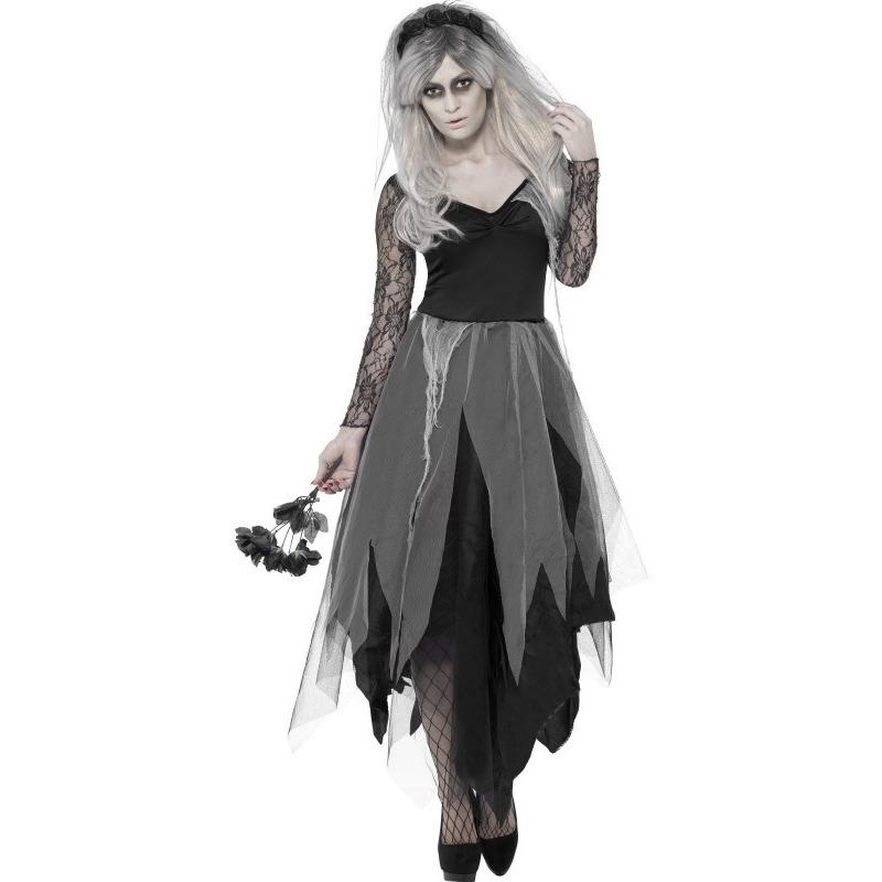 Zombie bruid verkleedkleding voor dames 40-42 (M) Grijs