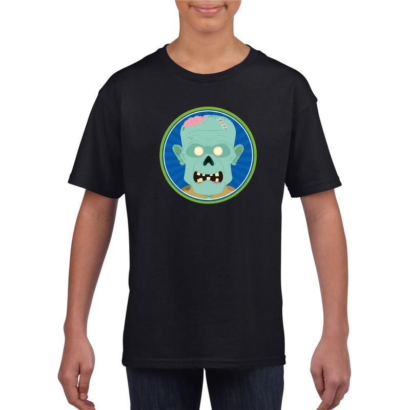 Zombie halloween t-shirt zwart voor jongens en meisjes XL (158-164) Zwart