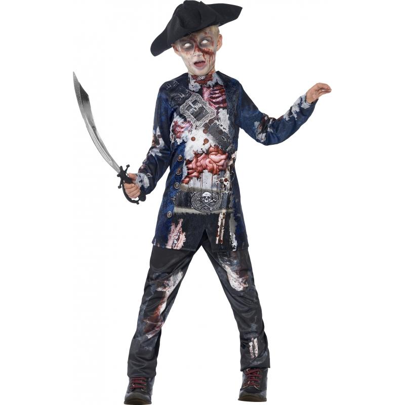 Zombie piraat pak voor jongens 145-158 (10-12 jaar) Multi