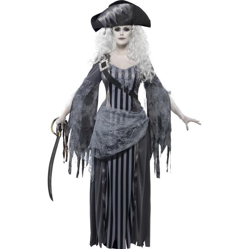 Zombie piraten verkleedkleding voor dames 36-38 (S) Grijs