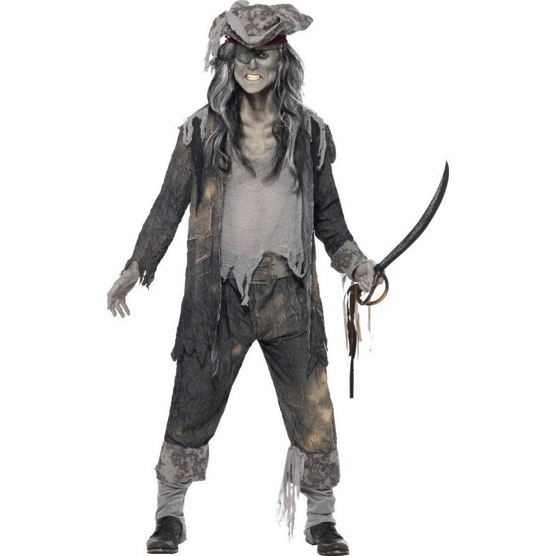 Zombie piraten verkleedkleding voor heren 48-50 (M) Grijs