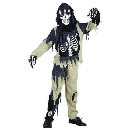 Zombie skelet kinder kostuum 116 - 4-6 jr Multi