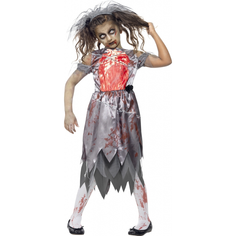 Zombie trouwjurk voor meiden 130-143 (7-9 jaar) Multi