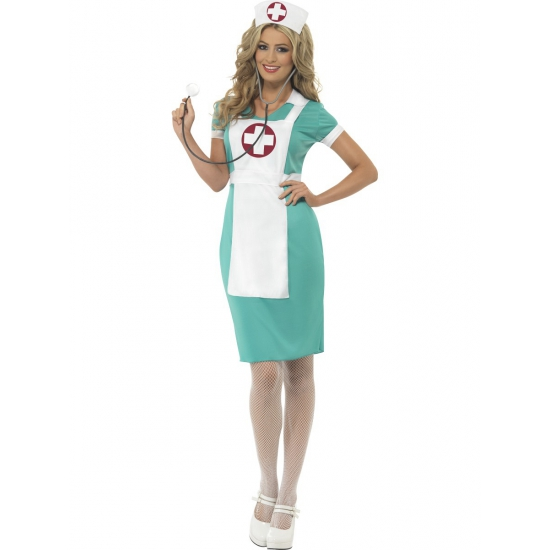 Zuster kostuum dames 40-42 (M) Groen