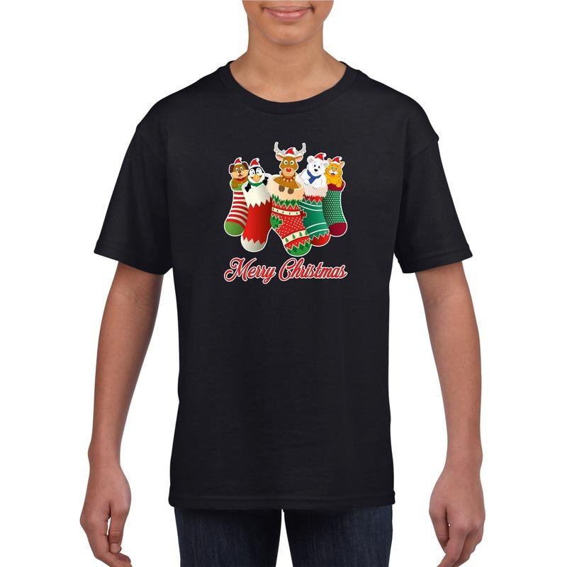 Zwart kerst shirt / kerstkleding Merry Christmas dieren kerstsokken voor kinderen 12-13 jaar (152/164) Zwart