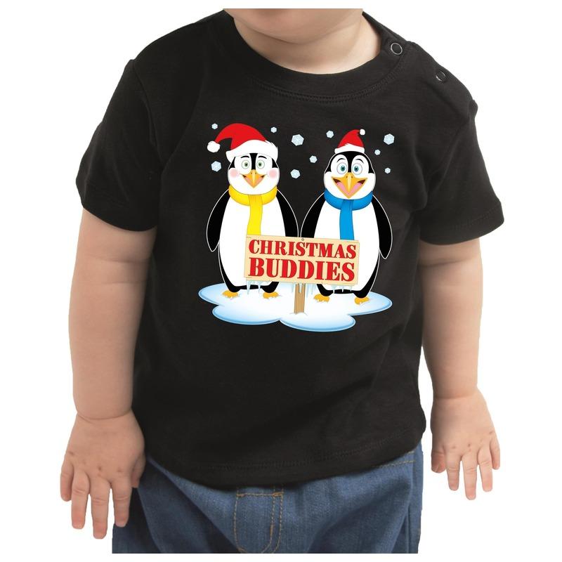 Zwart kerst shirt / kleding Christmas buddies voor baby / kinderen 68 (3-6 maanden) Zwart