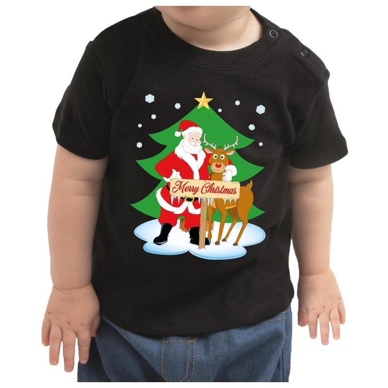 Zwart kerst shirt / kleding Merry Christmas kerstman/rendier voor baby / kinderen 68 (3-6 maanden) Zwart