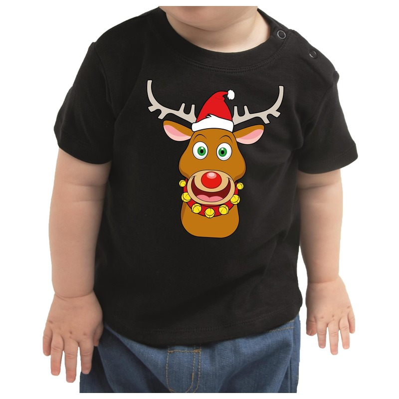 Zwart kerst shirt / kleding Rudolf het rendier met rode neus voor baby / kinderen 68 (3-6 maanden) Zwart