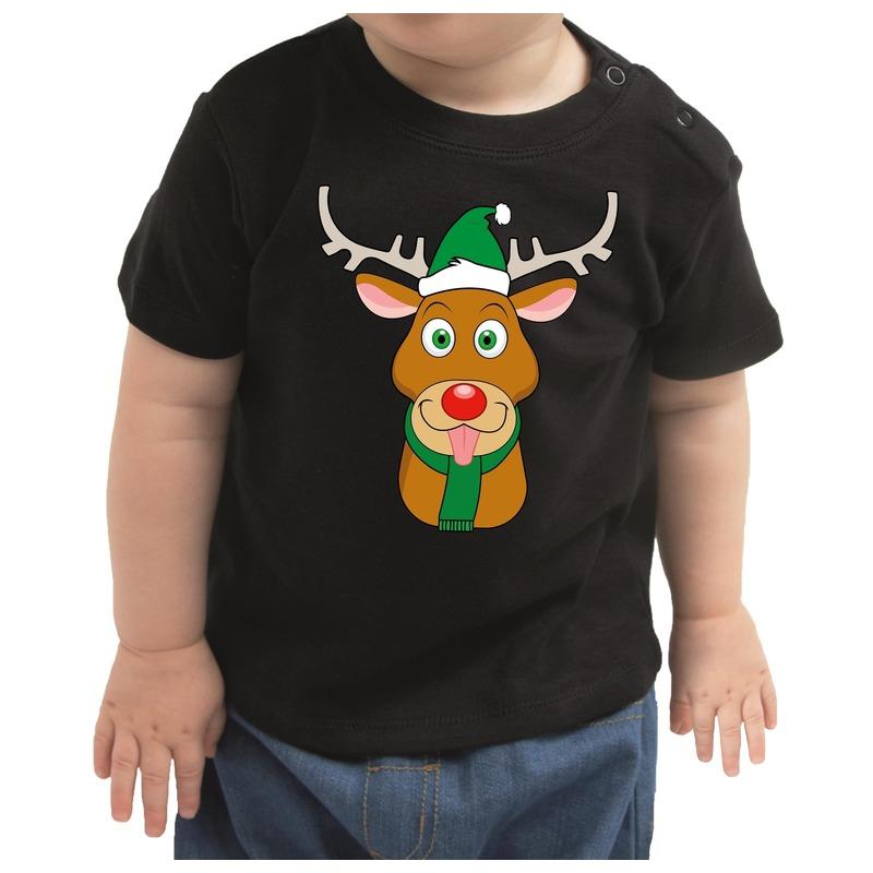 Zwart kerst shirt / kleding Rudolf het rendier voor baby / kinderen 74 (5-9 maanden) Zwart