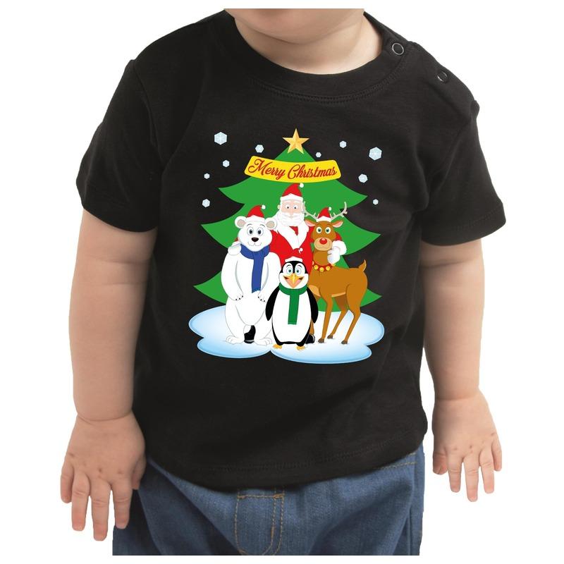Zwart kerst shirt / kleding Santa / kerstman en dierenvriendjes voor baby / kinderen 74 (5-9 maanden) Zwart
