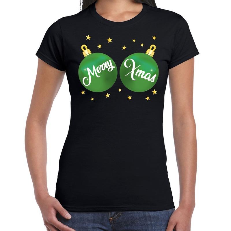 Zwart kerstshirt / kerstkleding met groene merry xmas ballen voor dames L Zwart