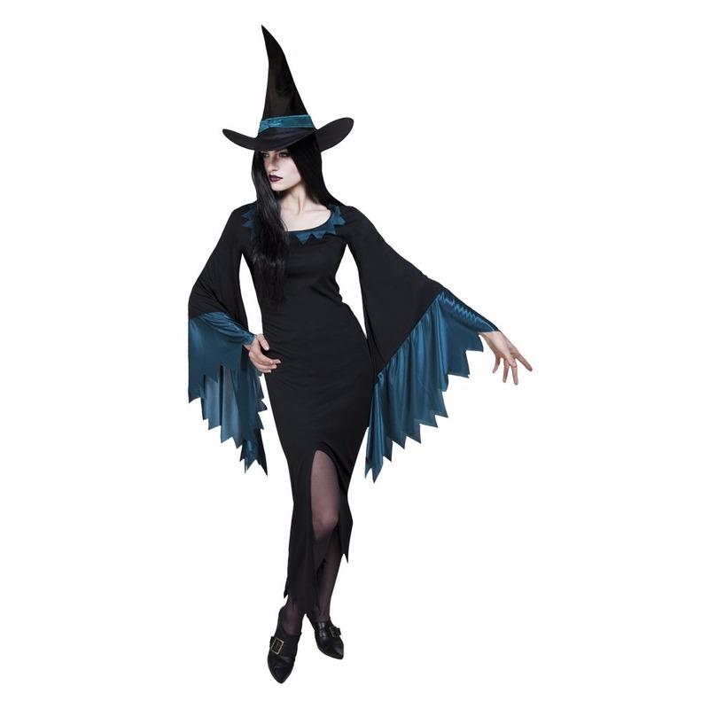 Zwart met blauw heksenjurkje voor vrouwen 38 (M) Multi