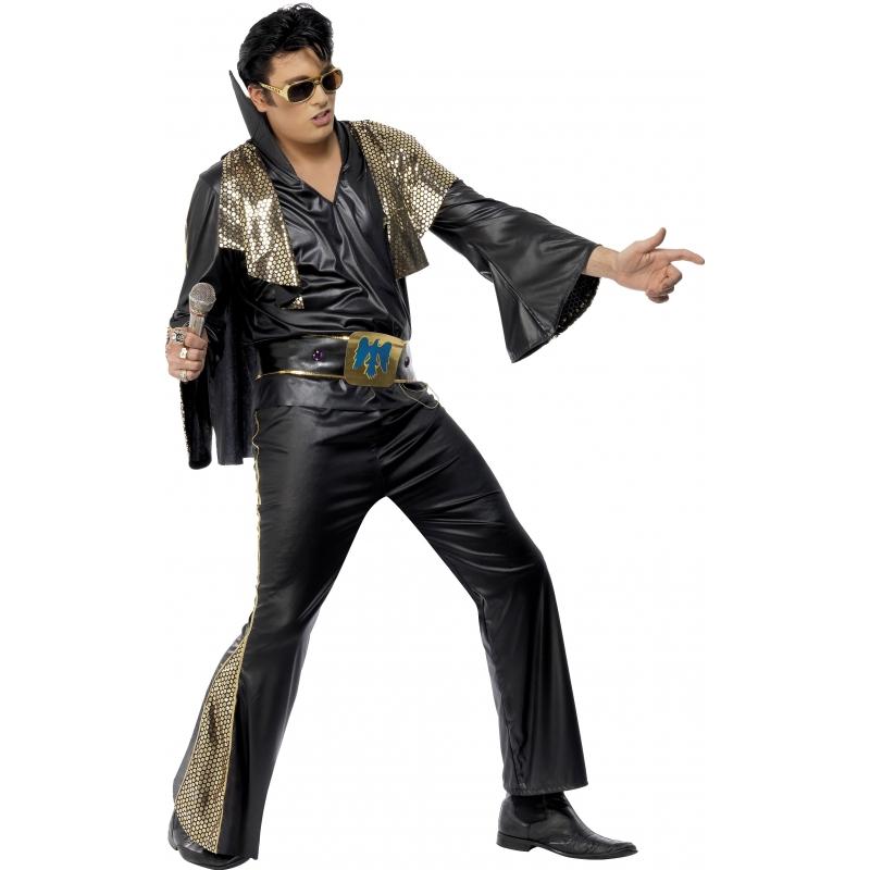Zwart met goud Elvis Presley pak 48-50 (M) Multi