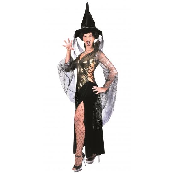 Zwart met gouden heksenjurk met hoed 40-42 (L/XL) Multi