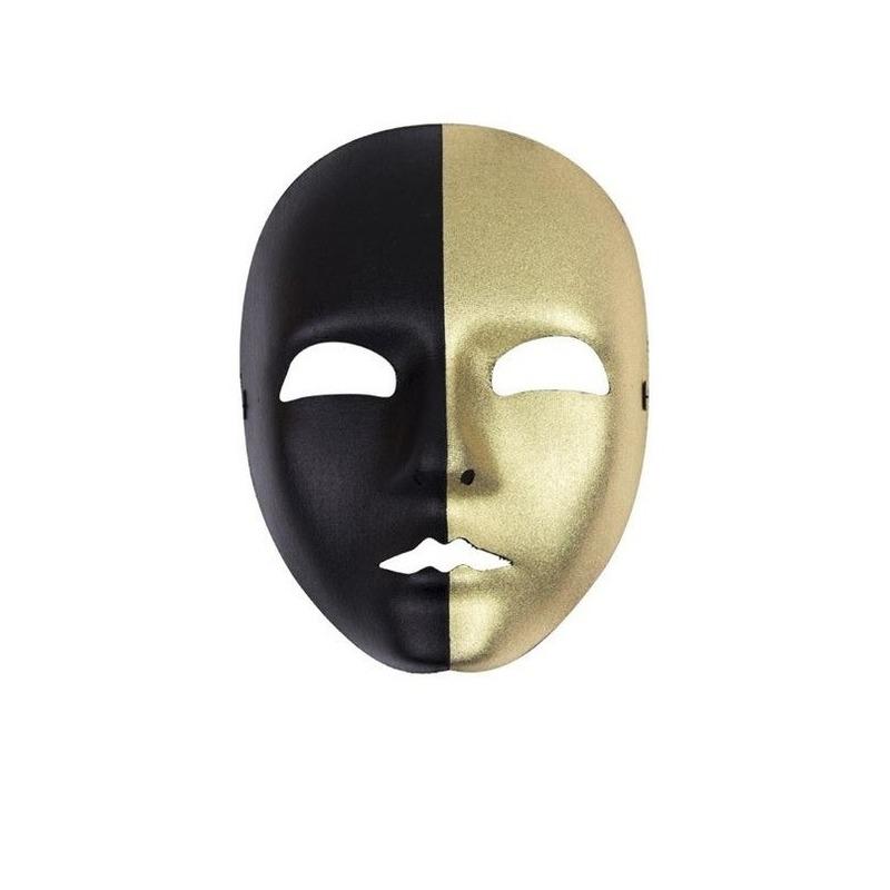Zwart met gouden masker - Verkleedmaskers