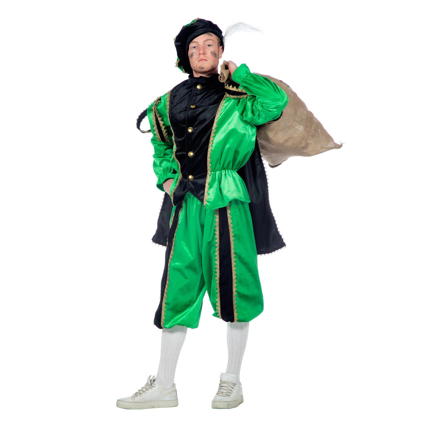 Zwart met groen Zwarte Piet kostuum 58 (2XL) Multi