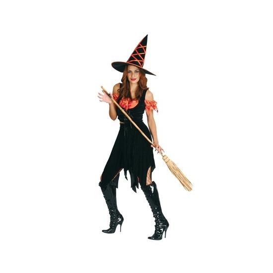 Zwart met oranje heksen kostuum One size Multi